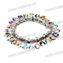 Мода красочные металлические медалью браслет с пластиковыми бусами