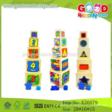 2015 Mais recente Cube Stack Cup Toy, Wooden Block Cup Toy, Folding Cup Toy
