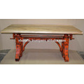 Metal Rivet Organge Antique Crank Dining Table