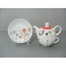 FDA LFGB approuvé Fine Porcelaine Ensemble de dîner pour enfants Lollipop Pattern 3pcs Cake Plate + Tea Set
