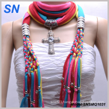 Muliti Colored Fashion Pendant Scarf with Jewelry (SNSMQ1031)