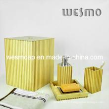 Ensemble de bain en bambou à deux tons (WBB0301C avec panier à ordures)
