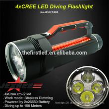 Super Power Mergulho recarregável 4 x CREE XM-L L2 LED 4000 Lumen 2x26650 bateria mergulho lanterna