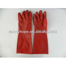 Red PVC Coated Gauntle Handschuh Glatte Oberfläche