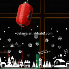Christmas cottage white glass window stickers chrismas pvc stickers