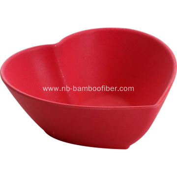 Bamboo fiber heart-shaped dishes sets and dinner bowl