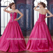 Jeune A Line Sweep Train Corset Closure Sweetheart Rhinestone plissé robe de quinceanera Dressing