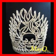 Мода пламени Череп Хэллоуин конкурса тиара короны с прозрачным кристаллом