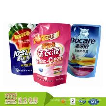 Saco de empacotamento líquido de lavagem de pé personalizado do malote do detergente para a roupa do OEM / ODM com bico