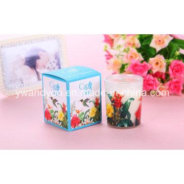 Bougie de cire de soja parfumée de Noël dans un pot en verre avec boîte cadeau