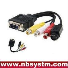 PC VGA SVGA TO S-Video 3 RCA Composite HD AV TV Out Converter Cabo Adaptador