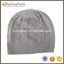 clássico barato padrão de cabo 100% malha de malha chapéu de malha de inverno