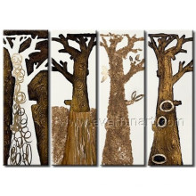 Pintura al óleo hecha a mano del árbol del paisaje