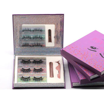 3D062H Hitomi 3 Pairs Mink Eyelashes soft natural mink eyelashes Fluffy 25mm Magnetic Eyelashes with Eyeliner and tweezers