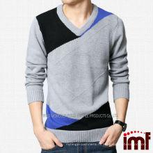 2014 Бриллиантовый пуловер для мужчин Серый кашемир полый свитер