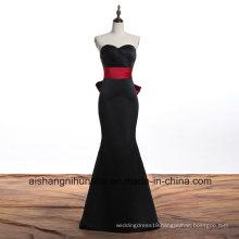 Long Gown Evening Dress Red Ribbon Mermaid Evening Dress