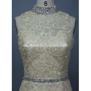 Sexy High-Neck Langarm Lace Maxi-Kleid