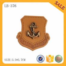 LB376 Персонализированный известный логотип бренда металла deboss подлинной джинсовой горячей печати кожи патч дизайн