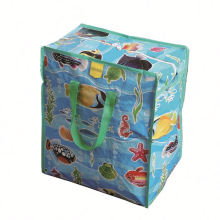 Custom recycle three-piece foldable lamination pp woven garbage bag