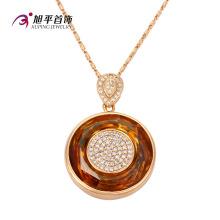 Xuping moda de lujo cristal oval colgante collar de la joyería con chapado en oro (32577)