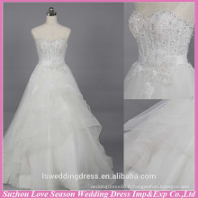 WD6019 Qualité tissu lourd à la main d'exportation de qualité concepteur robe de mariage robe de mariée robe d'église