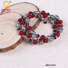2014 Trendy Pearl Crystal Stone Large Coil Bracelet (BR125165)
