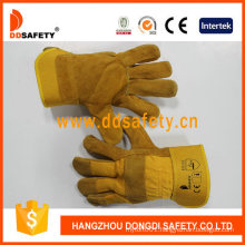 Yellow Cow Split Leather Patch Palm Yellow Cotton Drill Back Gloves