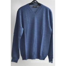 100% lana Pure Color V-cuello Kint Pullover suéter para hombre