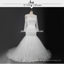 RSW721 Long Sleeve Lace Wedding Gowns Turkish Wedding Dresses Mermaid With Keyhole Back