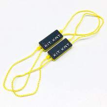 Custom Stamping Clothing Brand Name Logo Plastic Hang Tag String Seal For Garment