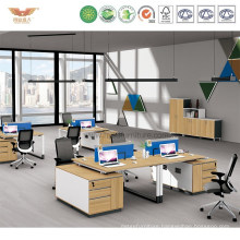 Modular Wooden Office Workstation Cubicles with Metal Leg (H90-0208)