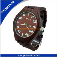 Relógio de madeira de garantia de qualidade relógio casual para homens e mulheres