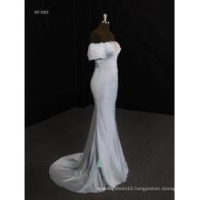 Bridesmaid satin sheath wedding dress blue evening dress 2017 mermaid design
