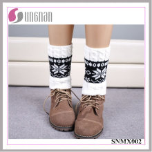2015 Winter Snowflake Spelled Color Elk Leg Warmers Knitted Socks
