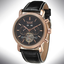 Brand Tourbillon Mens Leather Casual Wrist Watches