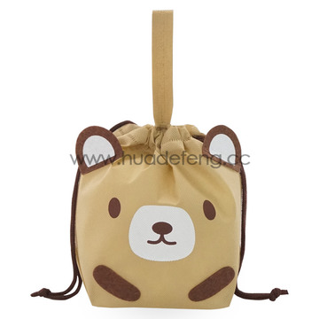 Brown Non-woven Bear Drawstring Packing Bag Wrapping Bag