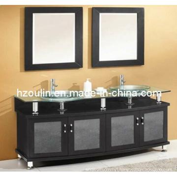 Double Sink Glass Bathroom Vanity (BA-1129)