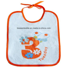 Promotional White Cotton Custom Printed Baby Bib with String Closing