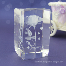 Fashion Carved Crystal Cube for Home Decoration