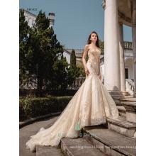 Süßes Herzausschnitt goldenes Meerjungfrau-Hochzeitskleid modernes Entwerferentwurfs-Hochzeitskleid für Braut