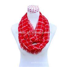 Fashion ladies cotton plaid infinity scarf