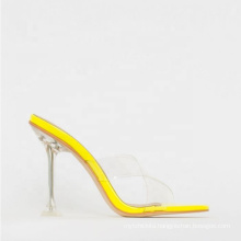 2019 Summer New PVC Transparent Square Head High Heel Slippers Women Clear Block Heels Party Shoes