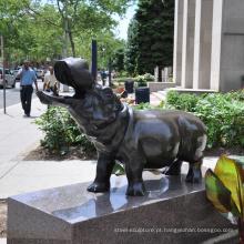 escultura ao ar livre da estátua do hipopótamo do bronze da decoração do jardim para a fundição de bronze