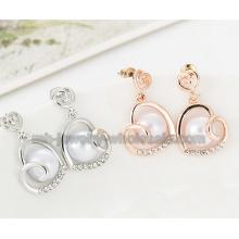 Coeur forme mode Zinc alliage boucles d'oreilles perles pour les femmes