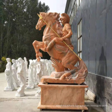 Hot sale marble stone horse and man statue