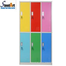 Muebles de dormitorio de diseño moderno seis puertas almirah armario de acero