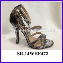 Gold fashion color girls high heel sandals girls latest high heel sandals