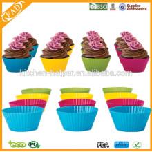 De alta calidad cocina barata de alimentos de cocina de cocinar herramientas de bricolaje resistente al calor antiadherente Soft Silicone muffin Cupcake Cup