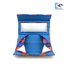caja de regalo plegable de cartón personalizado embalaje azul con ventana