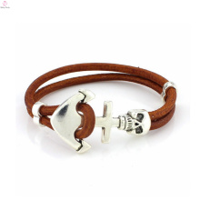 2017 Multi-layer weave Leather accessories a punk rock anchor skull bracelets for men